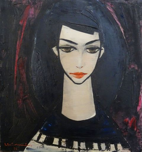 Girl with dark hair. 1966. Oil, canvas