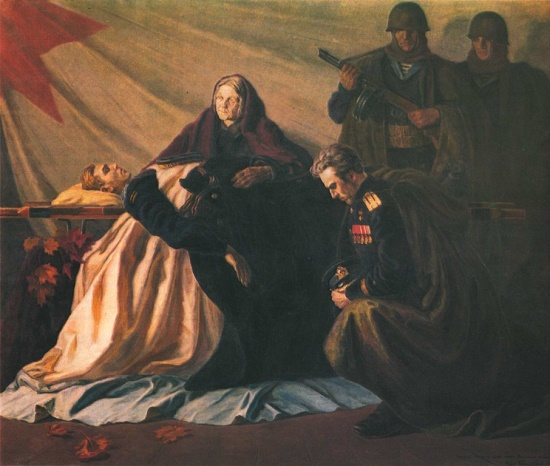 Glory to fallen heroes. Oil. 1945
