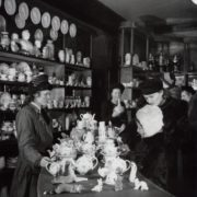 In the shop of the Lomonosov Porcelain Factory. Leningrad 1954
