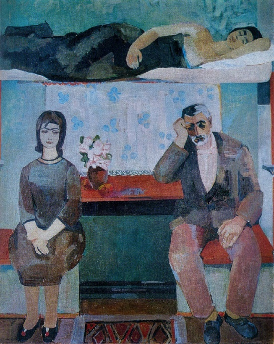 In the wagon (the compartment of the train). 1966-1967. Canvas, oil. The State Museum of Oriental Art. Painting by Soviet Armenian artist Minas Avetisyan (1928-1975)