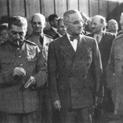 Joseph Stalin, Harry Truman and Winston Churchill at the Potsdam Peace Conference. June 1945