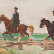 LN Tolstoy and IE Repin at walk. The sketch for the painting. Oil on cardboard
