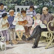 Lenin reading tales to children. 1967