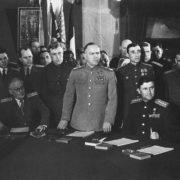 Marshal GK Zhukov during the signing of the Act of unconditional surrender of Germany. Karlshorst. Berlin. May 1945