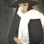 Parisian lady in a white scarf. 1965. Oil, canvas
