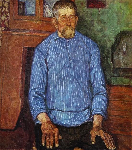 Soviet artist Igor Aleksandrovich Popov 1927-1999. Portrait of Alexandr Matveyevich Alexandrov. 1966. Oil on canvas