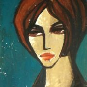 Portrait on blue background. 1950s. Oil, cardboard