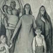 Protest against the war. Central part of the Triptych. 1957. Oil