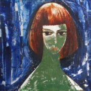 Red haired girl. Oil, canvas. 1950s