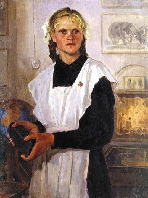 Schoolgirl. 1958. Soviet artist Askhat Safargalin 1922-1975