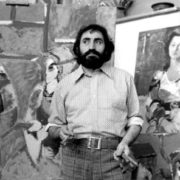 Soviet Armenian artist in his workshop