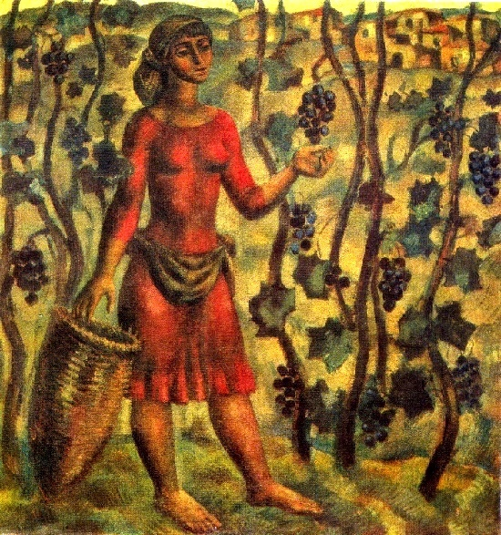 Vintage (Collecting grapes). 1967. Cardboard, tempera. Painting by Soviet Georgian artist Tengiz Mirzashvili (10 February 1934 - 1 January 2008)