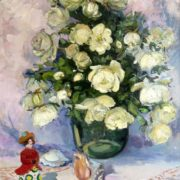 White roses in a vase, still life