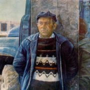 Builder, brigadier of carpenters Mozgovoy. 1979. Hardboard, Oil