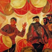 Choosing the drum. 1971. Oil on canvas. Directorate of exhibitions of the Union of Artists of the USSR