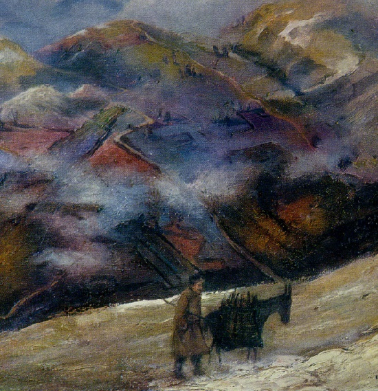 Cold day. 1960. Oil on canvas. Painting by Soviet Georgian artist Elena Akhvlediani (1901-1975)