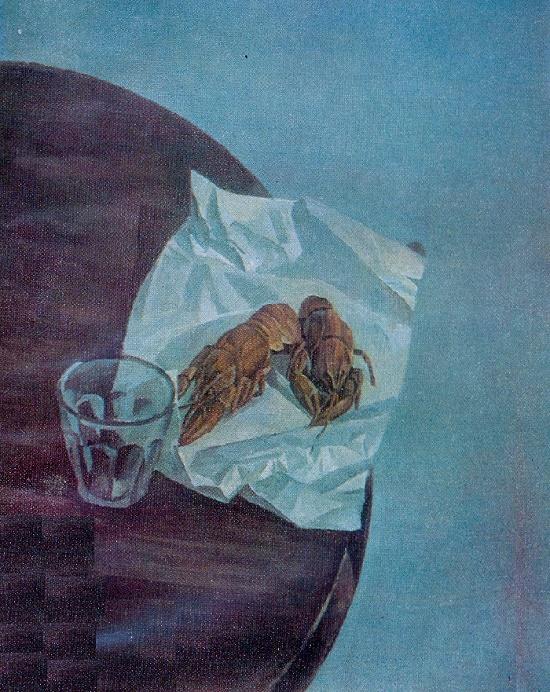 Crayfish. Still life. 1975. Synthetic fiberboard tempera