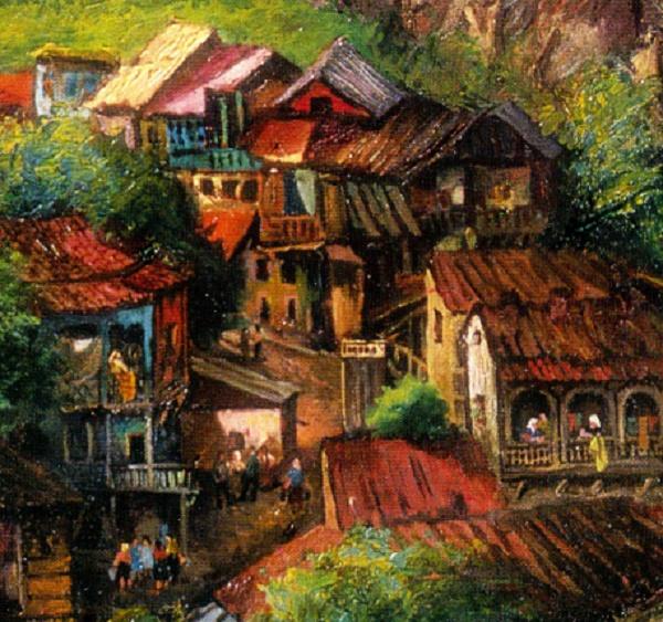 Detail. Old Tbilisi. 1969. Oil on canvas. Painting by Soviet Georgian artist Elena Akhvlediani (1901-1975)