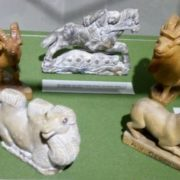 Figurines made by master - goats, camel, horse rider, and a dog