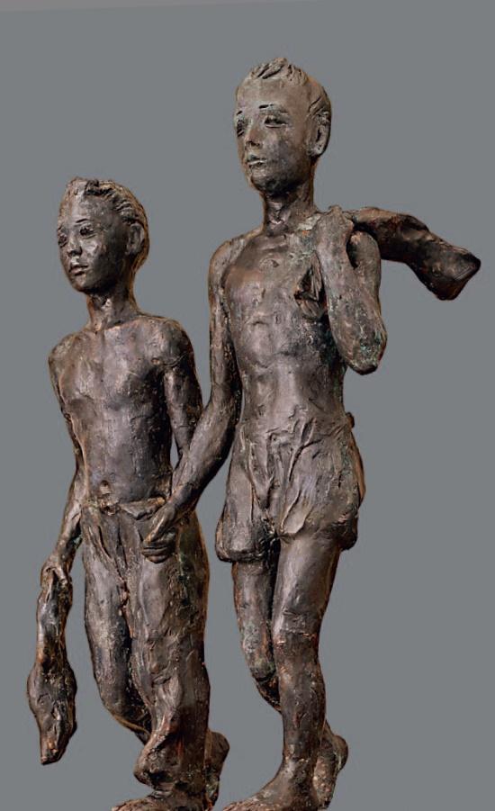 Friends. 1950's. Electroplating, plasticine, pedestal - wood. Soviet sculptor Alexandr Deineka 1999-1969