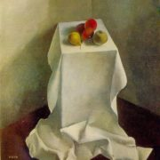 Fruit on a white table cloth. Still life. 1979. Oil on canvas