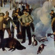 Hunters. 1973. Oil, canvas. Directorate of exhibitions of the Union of Artists of the USSR