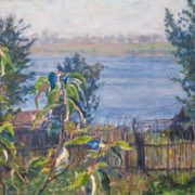 In the village of Akulovo. View of the lake Udomlya from the. 1935. Oil on canvas