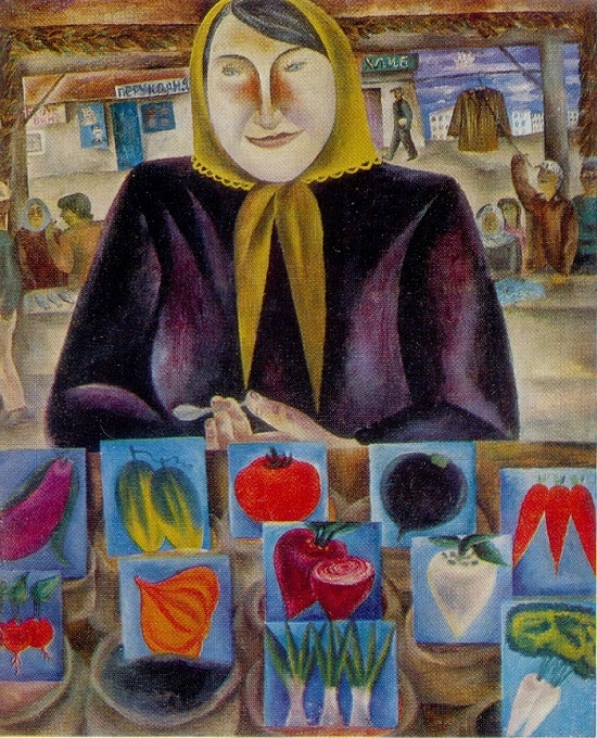 Market in Yalta. 1970-1972. Oil on canvas. Painting by Soviet Russian artist Ksenia Nechitailo (born 1942)