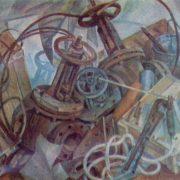 Metalwork still life. 1975 fiberboard synthetic tempera