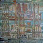 Panorama of the construction of the Novosibirsk bridge. 1975. canvas, tempera