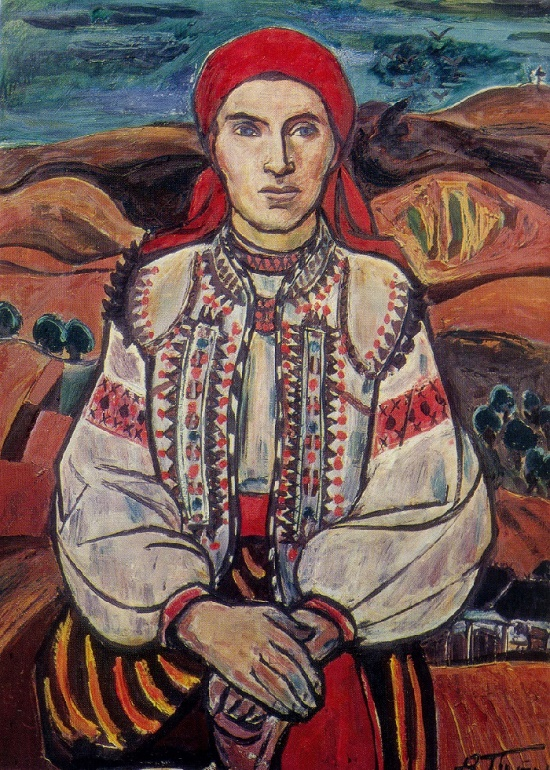 Peasant woman from Rusov. 1971. Oil on canvas. Soviet Ukrainian artist Vladimir Patyk
