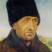 Portrait of an old Moldovan. Wood, gesso, tempera. 1974