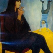 Portrait of circus actress. 1970. Oil, canvas