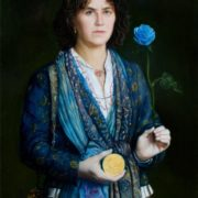 Self-portrait with blue rose