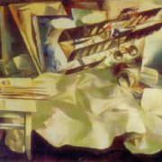 Still life with a model of an aircraft. 1970. Oil on canvas. Art Fund of the Latvian SSR