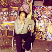 Togrul Narimanbekov, People's Artist of the Azerbaijan SSR, in his workshop