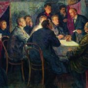 V.I. Lenin leads a Marxist club in St. Petersburg