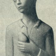 A boy with a dove. Gypsum, 1935. Kaunas branch of the State Bank