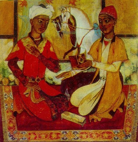 Alisher of Navoi and Hussein Baikar in their youth. 1968. State art museum of Uzbekistan, Tashkent