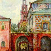 Autumn. Belfry of Rastrelli - Ukhtomsky in the Trinity-Sergius Lavra. 1944