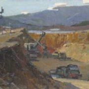 Excavation for a dam in Kachkanar. 1956
