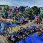Leningrad. Landscape with a wooden bridge. 1946