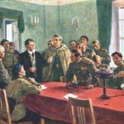 MI Kalinin talks with front agitators, 1943