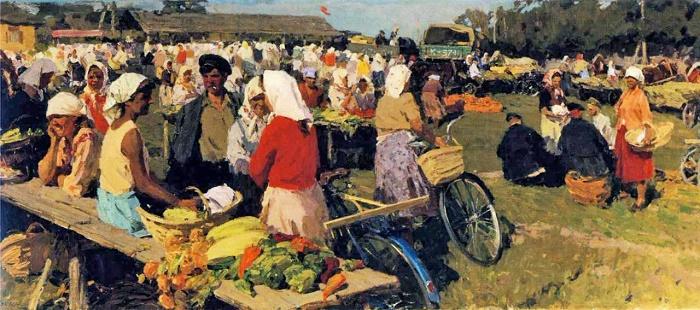 Market day in Sidnevo. 1950s