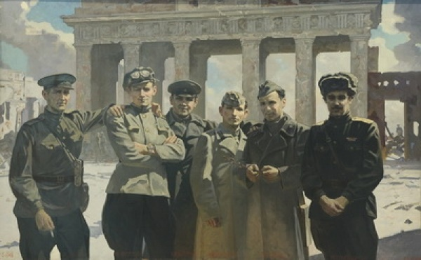 Military artists of the studio of Mitrofan Grekov in Berlin. 1945