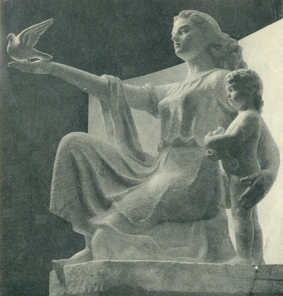 Peace. Gypsum. 1960. Moscow, pavilion of the Lithuanian SSR at VDNKh. Soviet Lithuanian sculptor Yuozas Mikenas 1901-1964