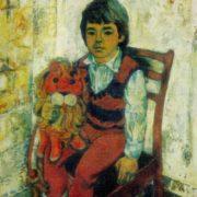 Portrait of Sardor with a red lion. 1976