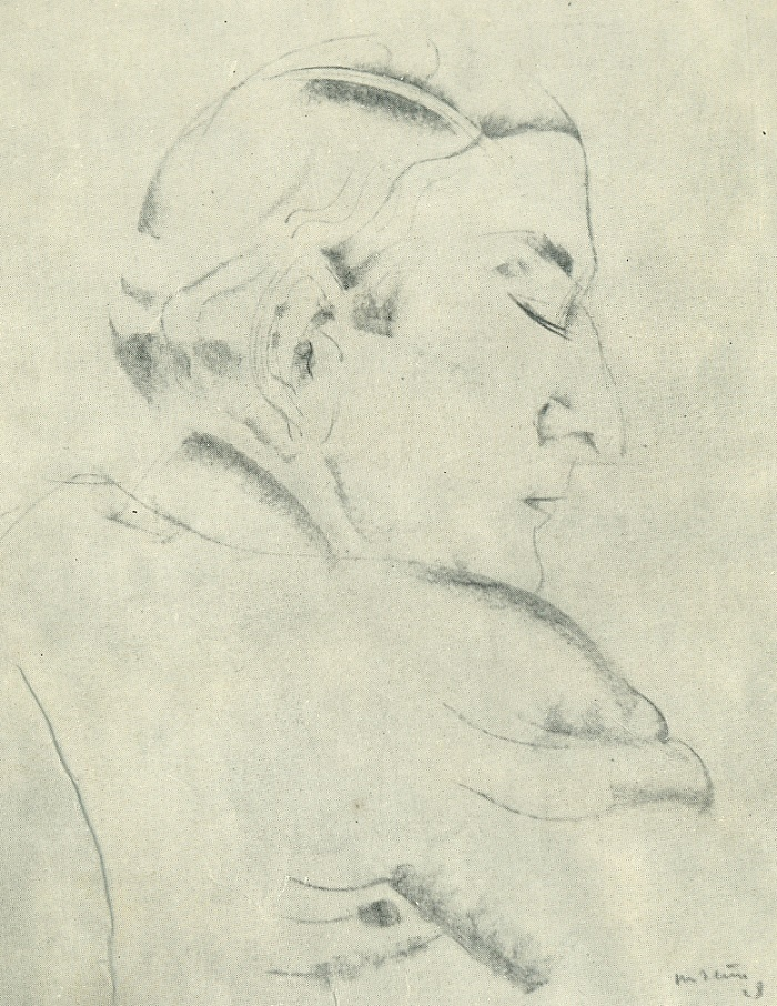Portrait of a man. Paper, sanguine. 1928