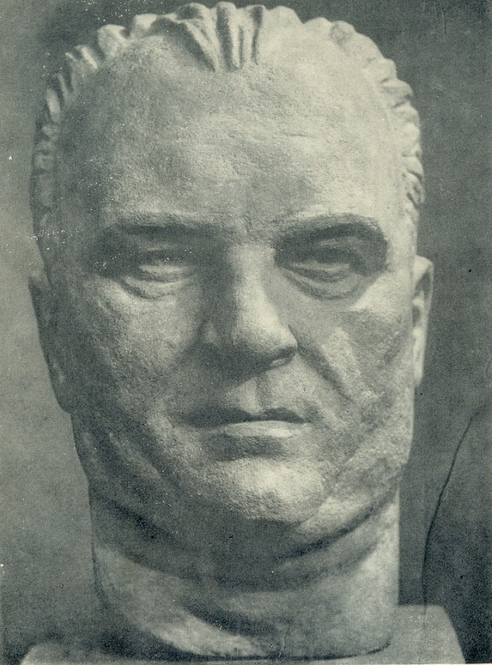 Portrait of the driver Antanas. Fake stone. 1960. The State Art Museum