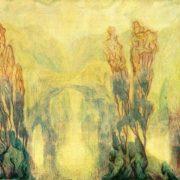 Romantic landscape. 1923. Paper, gouache drawing by Soviet painter Alexander Rozhdestvensky